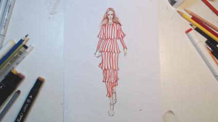 手绘蛋糕裙效果图,好看又时髦的小清新风格!(上集)