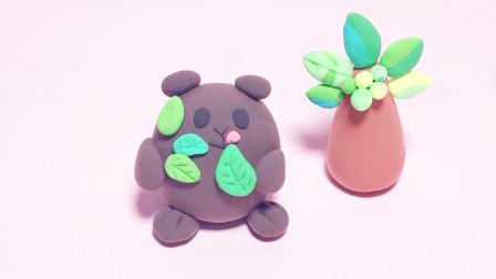 手工diy超萌小动物 吃树叶的可爱熊轻粘土教程步骤