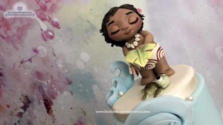 纯手工打造超美的莫阿娜公主翻糖蛋糕!不用芭比娃娃也能如此逼真