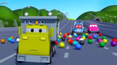儿童工程车动画 翻斗车伊森运保龄球撒落阻挡救护车急救 超级卡车火速救援
