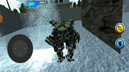 直升机机器人英雄:空中变成机器人,然后落入水中!