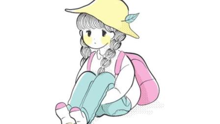 坐在地上可爱的小女孩简笔画