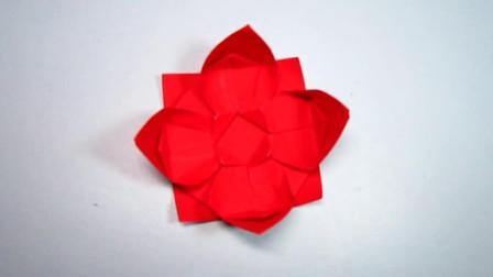 手工折纸,简易莲花的折法,漂漂亮亮,女孩子超喜欢