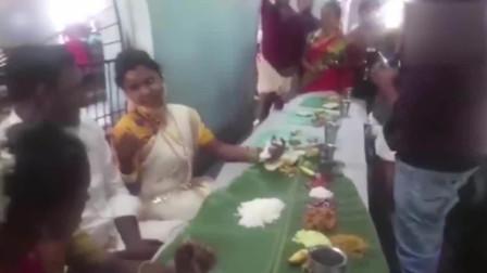 新娘划走米饭 新郎直接掀翻桌子