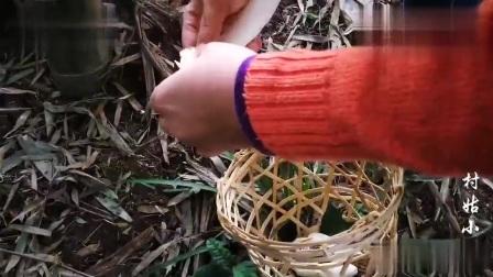 农村姑娘竹林里找一种绝顶美味,一般人没吃过,太珍贵了
