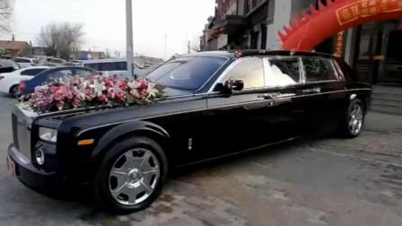 劳斯莱斯幻影加长版豪华轿车中的王者,劳斯莱斯幻影加长版迎亲车队呼啸而过