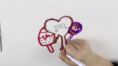 小U简笔画教程:教你简单几笔就可以画出棒棒糖的简笔画,快来和小U一起画吧!