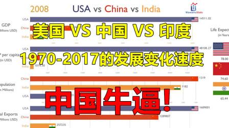 美国VS中国VS印度,1970-2017的发展变化速度,中国牛逼!