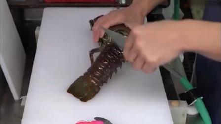 海鲜市场鲜活的大龙虾,大厨现场直接去壳做成料理,简直是绝品