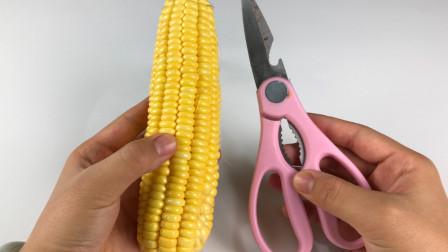 剥玉米粒有窍门,只需一把剪刀,轻松剥出粒粒完整的玉米粒