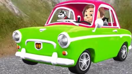 幼儿教育卡通 宝宝开小汽车去动物园认识各种动物