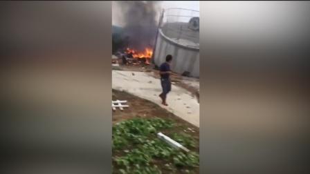 海南乐东黎族自治县一架飞机坠毁 导致一水塔倒塌