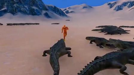 史诗战争模拟器:5个闪电侠挑战1000个史前巨鳄,谁先躺下呢?