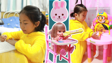苏菲娅和咪露玩过家家游戏!还有好玩的波鲁鲁儿童洗手台哦!