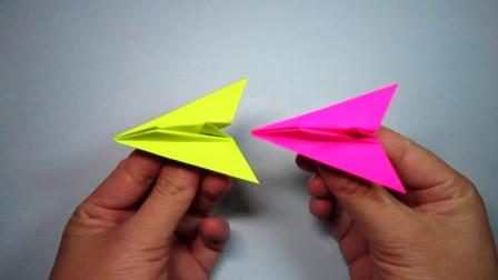 手工折纸,可爱小飞机的折法,一张正方形纸就能折出来