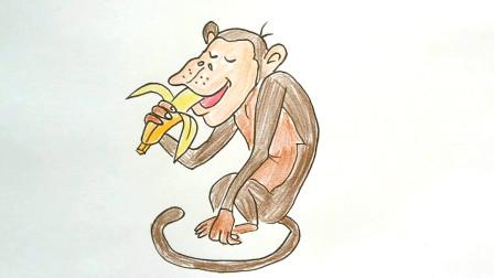小范亲子简笔画 如何画出动物园吃香蕉的猴子儿童卡通简笔画