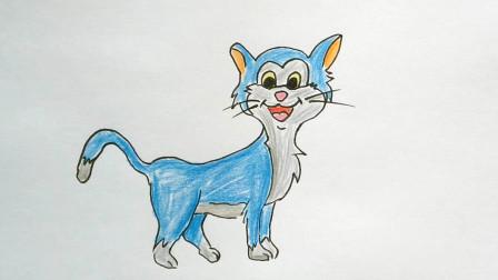 教大家如何画一只神奇的蓝猫卡通动物简笔画