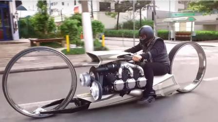 老外自制泡妞神器,航空引擎加无轮毂空心轮,就怕遇到减速带!