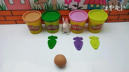 彩泥DIY手工制作,小白兔的胡萝卜