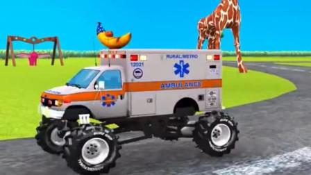 儿童工程车早教 大脚疯狂怪兽警车救护车消防车校车运载霸王龙大象狮子老虎