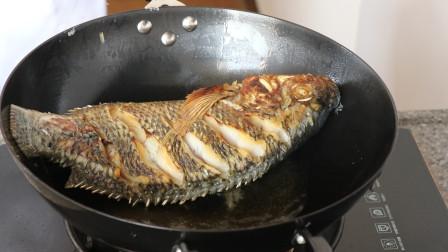家常红烧鱼的做法,教你怎么煎鱼不粘锅,学会了比下馆子的还好吃