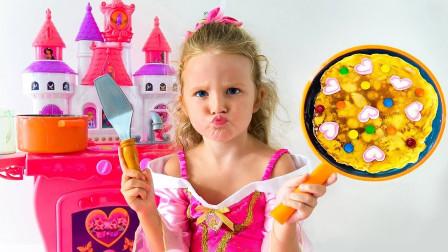 萌宝的食物教程!小萝莉开始制作美味蛋糕了!一起来看看步骤吧!