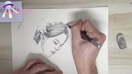 非常有水准的侧脸女头像素描,神态画的非常到位,你喜欢吗