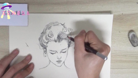 花花动漫盘点:画出好看的素描《低头女头像》,快来学习下吧!