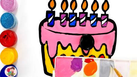 儿童绘画,画生日蛋糕,画一部手机,儿童玩具亲子互动