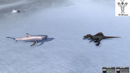 巨齿鲨大战脊龙,海洋霸主对上陆地最强,结局如何?