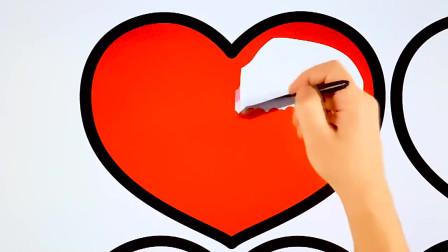 儿童彩绘给爱心涂上各种各样的颜色儿童简笔画创意美术早教
