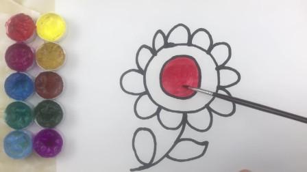 如何简画花朵 然后上彩色