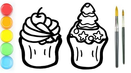 波比简笔画:教你画纸杯蛋糕,认识颜色学习英语,儿童轻松学画画