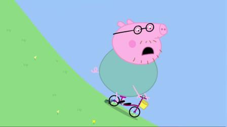 小猪佩奇全集:猪爸爸骑单车,结果掉进水池了
