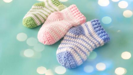 手工钩针编织教学新生婴儿袜子钩织教程粗毛线手工编织