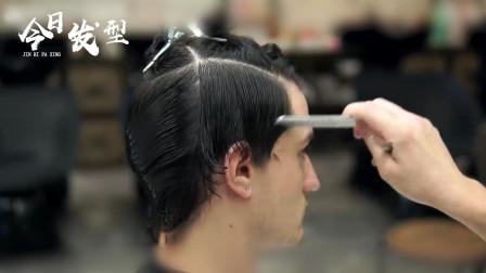 男士刘海一边斜发型修剪技术