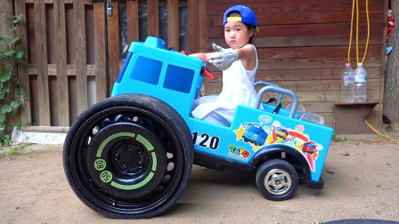 萌宝趣味日常! 萌宝的小车车出故障了,萌宝修理工上线!换轮胎咯!