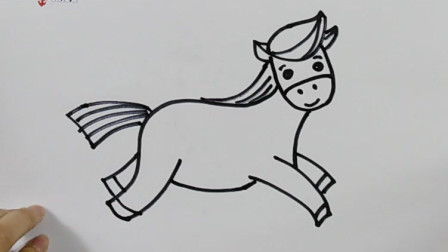 简笔画:美女老师教你画小马,小朋友快来一起画吧!