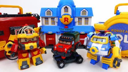 变形警车珀利和熊出没拼装变形车玩具