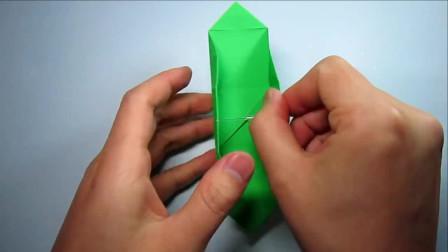 学会带耳朵盒子的折法,简单的手工折纸收纳盒
