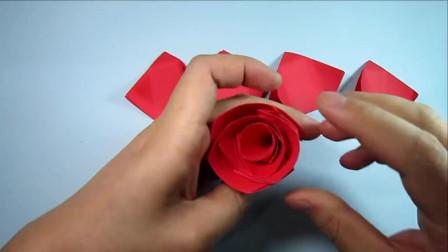 折纸教程:3分钟学会简单又漂亮玫瑰花的折法