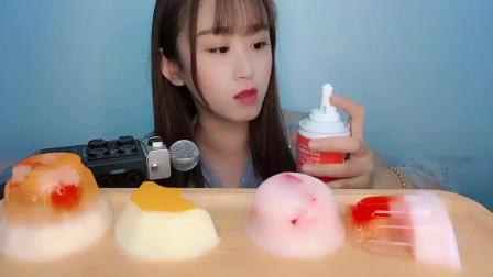 声控吃播小姐姐:这次吃网红奶油,一口吞,甜甜的是幸福的味道