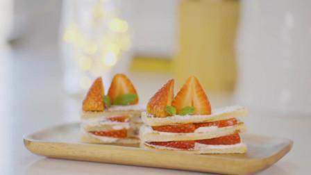 无烤箱版草莓奶油千层酥蛋糕