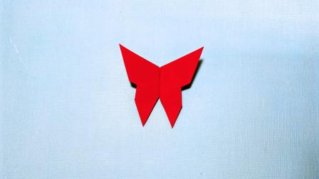 儿童手工折纸,漂亮蝴蝶折纸教程,两分钟学会,既简单又好看