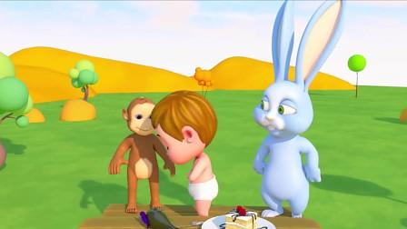 淘气的小男孩把小猴子送给小兔子的蛋糕和花弄坏了,儿童英语