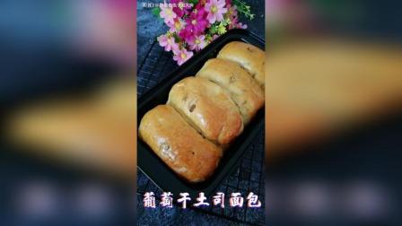 葡萄干土司面包 高筋面粉200克, 酵母粉3克, 奶粉10克, 盐1克