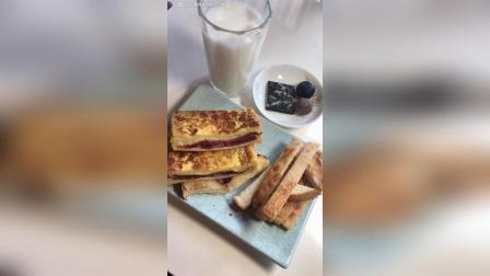 今日早餐: 阿胶糕、黑芝麻丸、红豆薏米丸、西多士, 牛奶