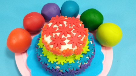 灵犀小乐园之色彩学习 多彩黏土自制花朵主题蛋糕,开满花朵的彩虹蛋糕