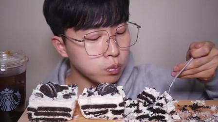 四眼小哥吃奥利奥饼干奶油蛋糕,他真不怕胖吗?