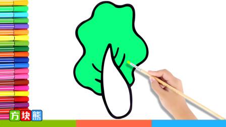 方块熊简笔画 第44集 可爱的绿色蔬菜